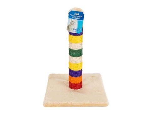 Poteau griffoir coloré pour chat en jonc de mer