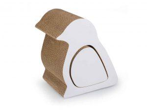 Griffoir pour chat belly bird en forme d'oiseau en carton nervuré de duvo +.