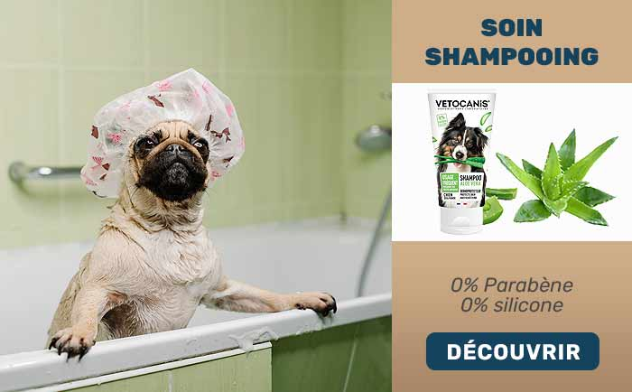 Soin shampooing Vitacanis à l'aloé véra pour usage fréquent - 0% parabène, 0% silicone