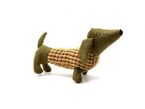 Peluche pour chien en forme de teckel