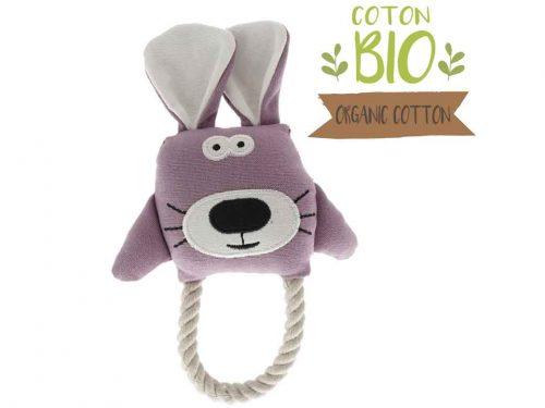 jouet peluche pour chien en forme de lapin. Tissu coton BIO