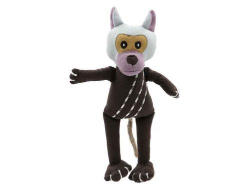 jouet peluche coton bio pour chien en forme de singe.