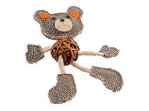 Jouet ours brun-gris au look naturel pour chat.