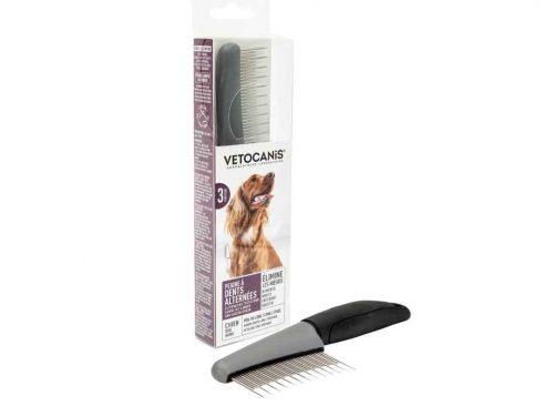 Peigne de toilettage aux dents alternées pour chien poils longs