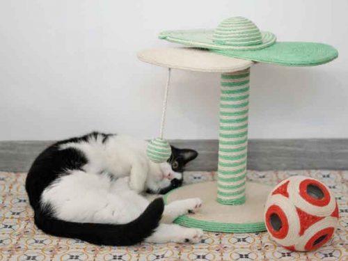 Poteau griffoir TYROL avec un chat noir et blanc