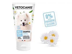 Shampoing poils blancs et clairs pour chien aux extraits de camomille