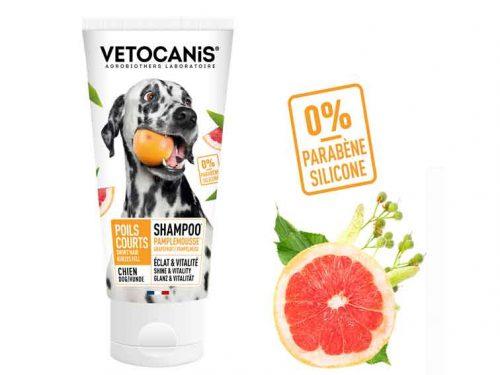 Shampoing pour chien à poil courts et ras aux extraits de pamplemousse