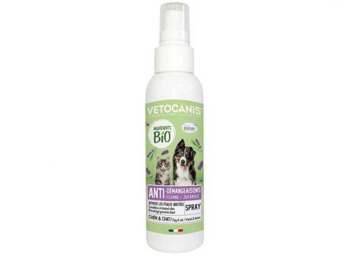 spray anti-démangeaison BIO Vétocanis pour chat et chien.