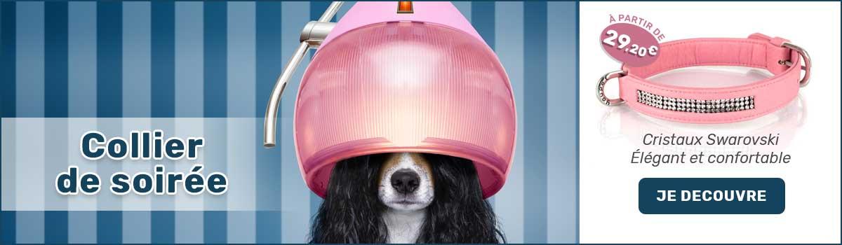 Collier de soirée pour chien. Cristaux Swarovski. Élégant et confortable.